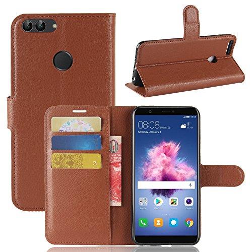 Per Huawei P Smart Custodie e cover,OFU® PU+TPU portafogli in pelle fondina Per Huawei P Smart Telefono Caso+staffa(Huawei P Smart,marrone)