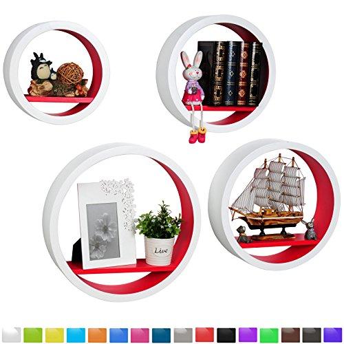 WOLTU RG9231rt Wandregal Schweberegale, 4er Set Rund Regal, Retro Bücherregal, MDF Holz, DIY zum Hängen, weiß-koralle