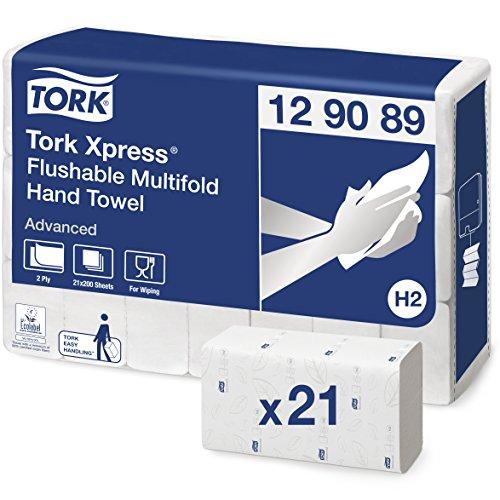 Tork 129089 Xpress schnellauflösende Multifold Handtücher Advanced weiß für Tork H2 Multifold-Systeme / Falthandtücher 2-lagig & saugstark / 21 x 200 Tücher (25.5 x 21.2 cm)