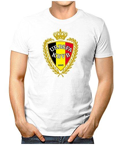 Prilano Herren Fun T-Shirt - Belgien-WM - M - Weiß (Jones Weißes Trikot)