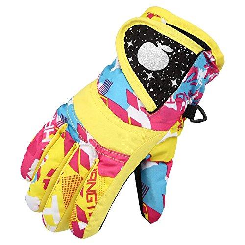 Eastlion Kinder Skifahren Handschuhe Verdickung Winter Baumwolle Kalt Sport Wasserdichte Winddichte Schnee Fäustlinge für Jungen und Mädchen,Farbe 2,L