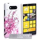 Yousave Accessories Custodia per Nokia Lumia 820 Custodia Silicon Gel Floreale Ape Rosa/Bianco