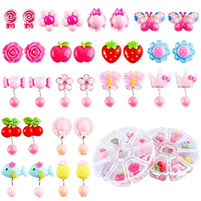 Aneco 16 Pairs Princess Clip on Earrings Set With Different Styles,Packed in 2 Clear Boxes