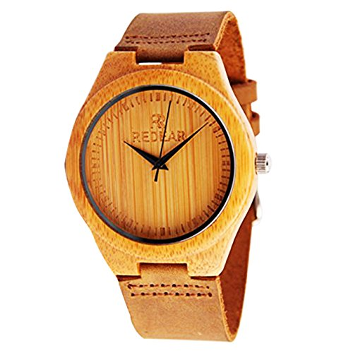 juhaich Holz Armbanduhr Bambus Holz Natur ECHT LEDER Gurt Holz Armbanduhr Japanisches Quarz-Uhrwerk für Damen & Herren - Holz-gurt
