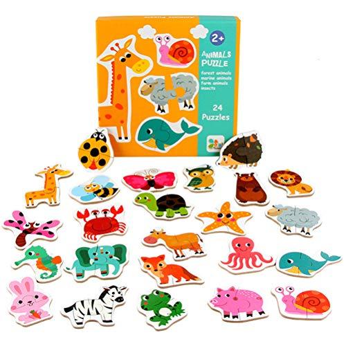 Schimer Steckpuzzle - Bauernhof Hölzerne Tierpuzzlespiele Holzspielzeug Holzpuzzle Puzzle-Spiele Kinderpuzzle Lernspielzeug für 18 Monate Plus