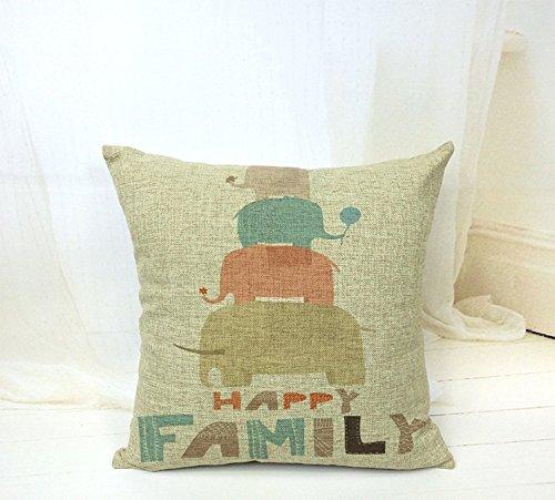 jsalestore Happy familia de elefantes manta decorativa fundas de almohada de 18x...