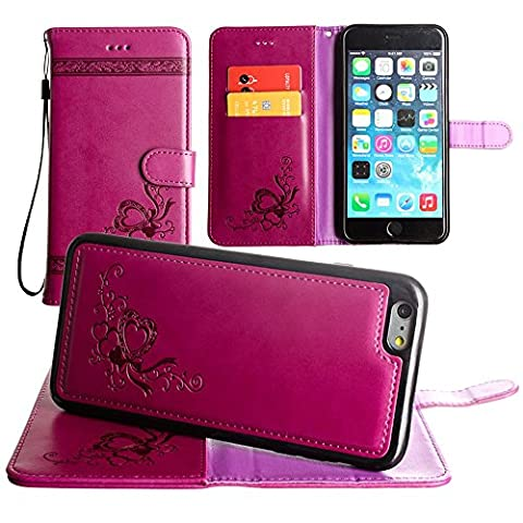 CellularOutfitter iPhone 6/6s Plus Leather Wallet Phone Case Vine Heart Embossed Design - Includes Matching Removable Case and Wristlet - Fuchsia