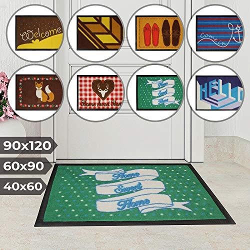 Jago Fußmatte für Eingangsbereiche - in acht verschiedenen Designs und DREI Größen - Türvorleger, Fußabtreter, Schmutzfangmatte, Schuhabstreifer (40 x 60 cm, Pünktchen)