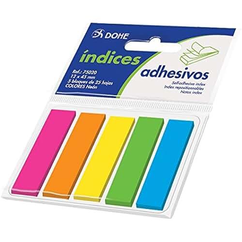 juguetes kawaii Dohe 75020 - Tacos de índices adhesivos, 12 x 45 mm, 5 blocks x 25 notas