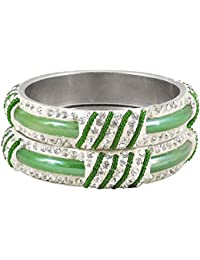 DollsofIndia Pair Of Light Green Metal Bangles With Stone And Beads - Size - 2-6 - Dia - 2.4 Inches (RE95) - Green