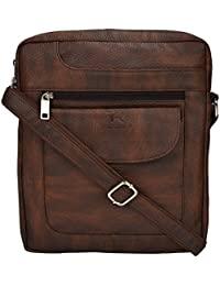 Tan Ritcher Synthetic Leather Made Sling Bag For Women And Men-Brown