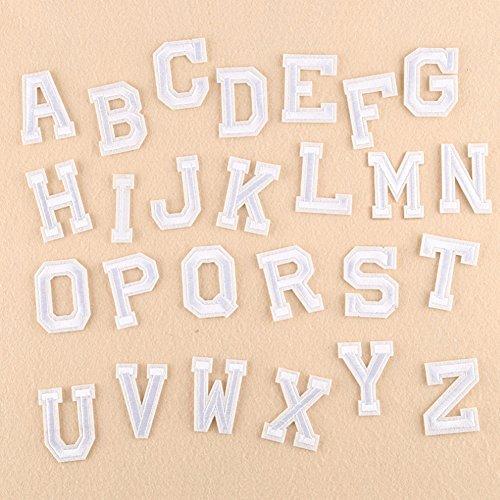 XUNHUI Weiß 26 Englischen Buchstaben A-Z bestickt Motiv Applique Eisen auf Patch nähen Kleidung DIY Aufnäher für Kleidung Applikationen -