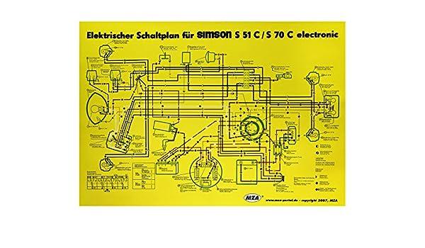MZA Schaltplan Farbposter (35x50cm) Simson S51, S70 C 6V Elektronic ...