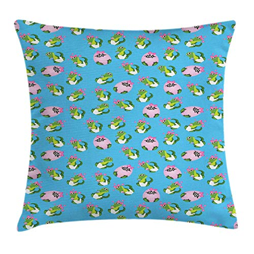 MLNHY Gator Throw Pillow Cushion Cover, Lovely Cartoon Baby Crocodiles Pattern in Egg with Ribbon and Teat, Decorative Square Accent Pillow Case, Deep Sky Blue Pink Lime Green,26 X 26 Inches (Blue Ribbon Quilts)