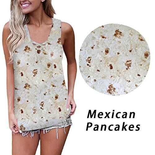 Damen Sommer Plus Größe mexikanische Pfannkuchen Shirt Kurzarm Druck Tops