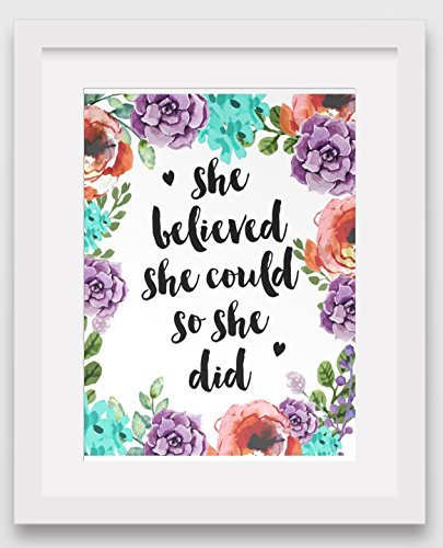 she-believed-she-could-so-she-did-art-inspirational-floral-quote-8-x-10-inches-unframed