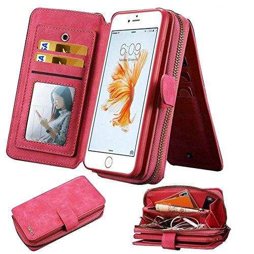 Lively Life iPhone 6/6s Cover Portafoglio in pelle case borsa di cuoio staccabile PU Premium con carta di credito slot flip mirror per Apple iPhone 6/6s (Rosa)