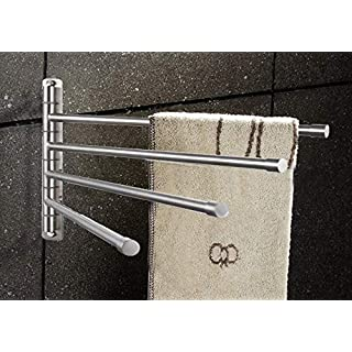 IGNPION Wall Mounted SUS304 Stainless Steel Towel Holder Bathroom Kitchen Towel Rack Rail Polished (4-Arm)