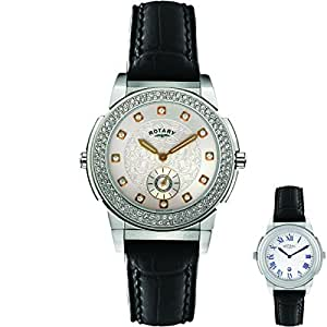 Rotary Women's Quartz Silver Dial Analogue Display and Black Leather Strap ELS0012/TZ2/06/QT