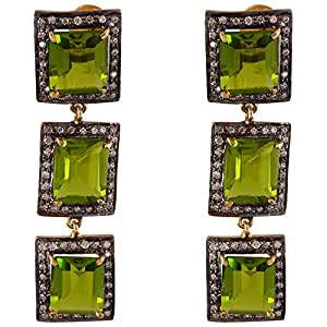 Gehna Mart Parrot Green/Periddot Colour Stone Long Earring In AD 19.1 grams