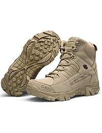 Qiyun Llanta Hombre Militar Forma Zapatillas de Senderismo Botas con Cordones Trabajo, Botas Impermeables, Botas Militares Hombre, Zapatillas de Trabajo Hombre, 41