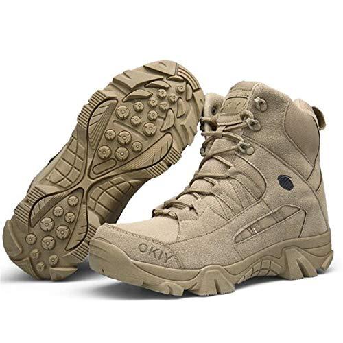Qiyun Llanta Hombre Militar Forma Zapatillas de Senderismo Botas con Cordones Trabajo, Botas Impermeables, Botas Militares Hombre, Zapatillas de Trabajo Hombre, 45
