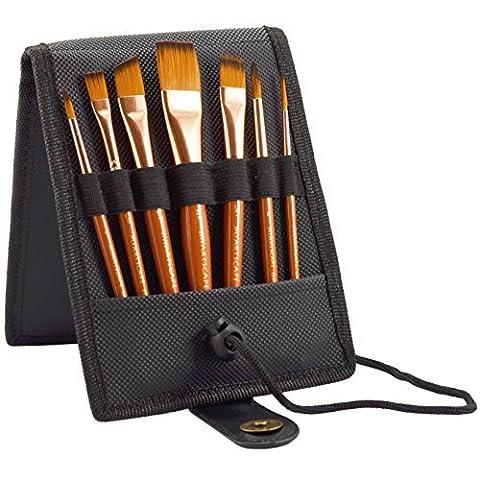 Paint Brush Set - 7 Travel Brushes for Acrylic, Oil,