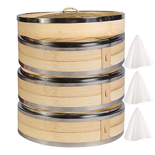 Hcooker 3-Tier Küche Bambus Dampfer mit Doppelt Edelstahl-Banderolieren für Asiatische Kochbrötchen Mehlklöße Gemüse Fischreis