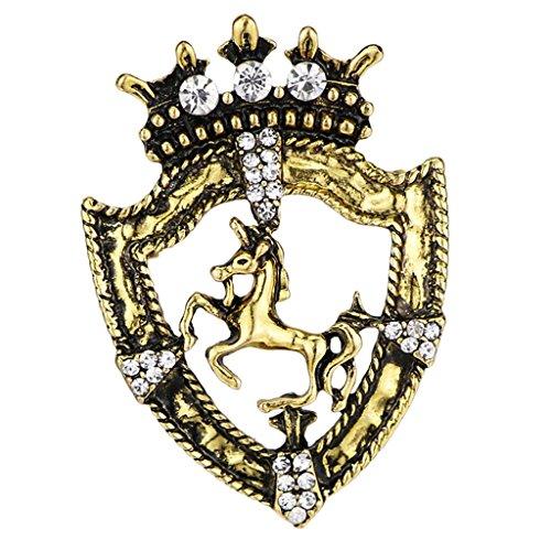 non-brand MagiDeal Königin Krone Stil Kostüm Pin Pferderennen Abzeichen Brosche mit Kristall Straß Pin Modeschmuck Brosche - Geschenk - Antikes Messing (Pferd Krone Aus Messing)