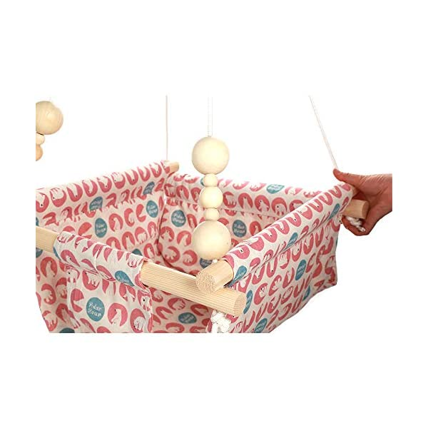 """HB.YE Wooden Baby Swing Seat Set with Beads Cushions, Handmade Kids Indoor Outdoor Hanging Chair Hammock, Comfortable Toddler Seat Nursery Decor 