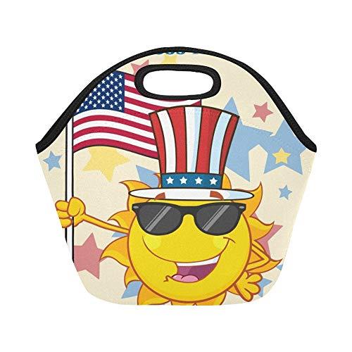 Isolierte Neopren-Lunchpaket Cute Sun Cartoon-Maskottchen-Charakter-Sonnenbrille-große wiederverwendbare thermische starke Mittagessen-Taschen-Taschen für Mittagessen-Kästen für im Freien arbeiten