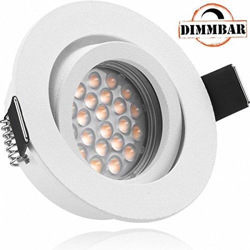 LED Einbaustrahler Set Weiß matt mit LED GU10 Markenstrahler von LEDANDO - 5W DIMMBAR - warmweiss - 60° Abstrahlwinkel - schwenkbar - 50W Ersatz - A+ - LED Spot 5 Watt - Einbauleuchte LED rund