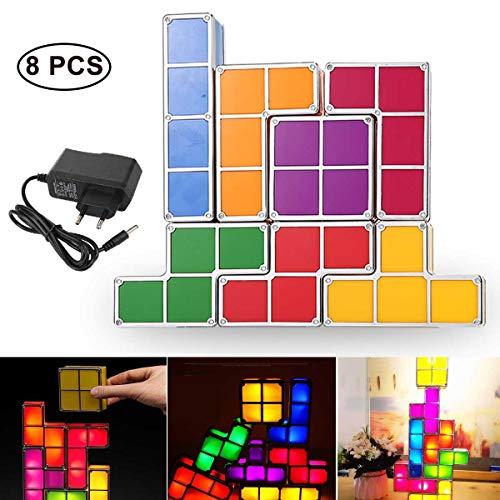 OOOUSE Luz de Noche de 7 Colores, Luz de Noche LED con Tetris Luces de Noche de inducción de Bricolaje Juguetes Novedad Iluminación Lámparas de Mesa para Adolescentes Decoraciones