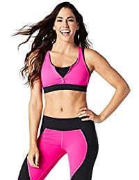 Zumba Fitness® Team Zumba Sujetador Deportivo para Mujer, diseño con Cremallera, Mujer,