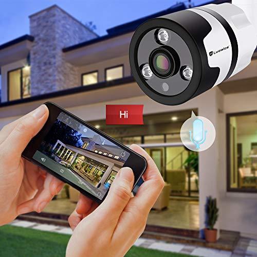 Überwachungskamera Aussen WLAN Luowice IP Kamera WiFi HD 1080P mit 180° Weitwinkel Zwei-Wege-Audio 30m Nachtsicht Bewegungserkennung Wasserdicht Fernzugriff kompatibel mit Smartphones Tablets und PC