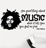 Bob Marley One Good Thing About Music Quote Lounge Living Room Hallway Bedroom Wall Sticker Wall Decal Wall Art Vinyl Wall Mural - Regular Size (Large size is also available)