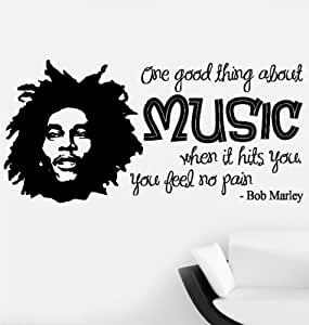 wandtattoo bob marley mit zitat one good thing about music vinyl normale gr e gro e gr e. Black Bedroom Furniture Sets. Home Design Ideas
