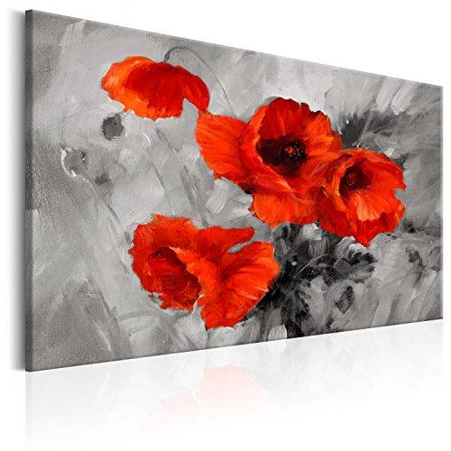 murando - Bilder Mohnblumen 90x60 cm - Leinwandbilder - Fertig Aufgespannt - 1 Teilig - Wandbilder XXL - Kunstdrucke - Wandbild - Blumen Mohn wie gemalt rot grau b-B-0157-b-a (Bilder Mohn)