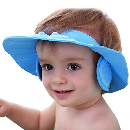 Lalang Verstellbare Duschhaube, Shampoo Schutz für Baby Gesundheit Baden wasserdichter Hut, Kind-Wäsche-Haar-Schild-Hut (blau)