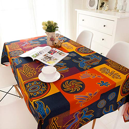 BATSDCB Vintage Bunt Drucken Tischdecken, Bettwäsche aus Baumwolle Essen Picknick Tabelle Tuch,...