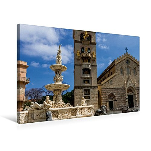 Premium Textil-Leinwand 75 cm x 50 cm quer, Brunnen und Kathedrale Maria Santissima Assunta, Messina | Wandbild, Bild auf Keilrahmen, Fertigbild auf echter Leinwand, Leinwanddruck (CALVENDO Natur)
