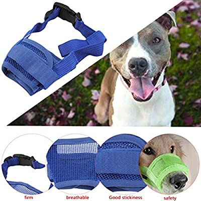 Candyboom Nylon Puppy Dog Pet Mouth Bound Device Mask Safety Adjustable Breathable Muzzle Stop Biting Anti Bark Bite Mesh Small Large Dogs from Candyboom-190701