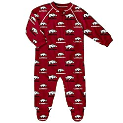 NCAA Arkansas Razorbacks Infant Boys Sleepwear All Over Print Zip Up Coveralls, 12 Months, Victory Red