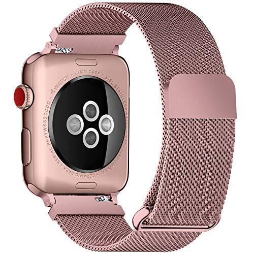 Fullmosa Bracelet Compatible avec Apple Watch/iwatch 38mm 40mm 42mm 44mm, 4 Couleurs Web pour Bracelet Apple Watch Series 4/3/2/1 Milanese en Acier Inoxydable avec Fermeture Magnétique, Or Rose 38mm