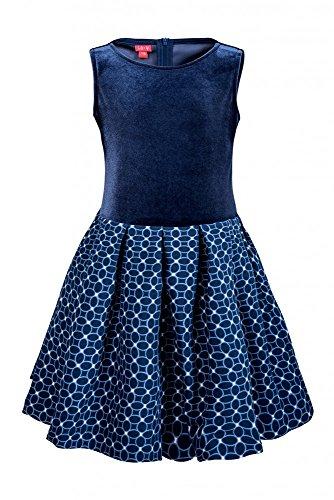 Saum Kreis Rock (La-V Festliches Mädchenkleid Blau Kreise/Größe 158)