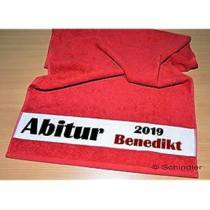 bedruckte Frottiere Handtücher oder Bade/Duschtücher – Abigeschenke – Motiv 1″Abi 2020″ mit Wunschnamen in 13 Farben zur Auswahl und 2 Größen