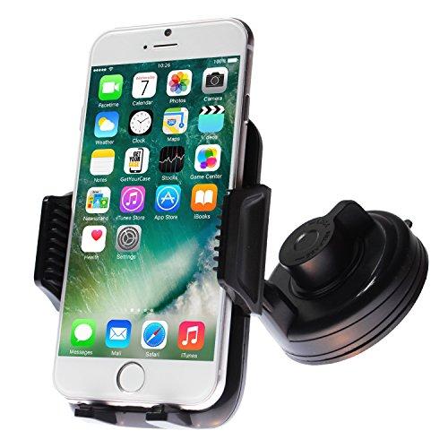 Premium KFZ Halterung Smartphone Universal Handyhalterung mit 360 Grad Kugelgelenk und ultra-starkem Power-Gel Saugnapf Autohalterung mit Automatik Öffnungsmechanismus und Lock Hebel für Windschutzscheibe Schwarz von wortek
