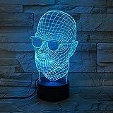 Kühle Vatertagsgeschenk 3D Licht Neuheit Herrenbekleidung Schwarze Brille LED Licht Tischlampe Dekoration USB Farbwechsel Lava Lampe