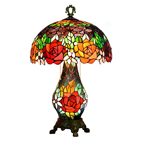 Tiffany-Stil Tischlampe 16 Zoll 3 Licht Rose Glasmalerei Schatten Schreibtischlampe mit beleuchtetem Sockel, Schlafzimmer Wohnzimmer neben Dekor Lampe -