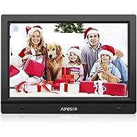 APESIN Digitaler Bilderrahmen 11.1 Zoll Widescreen 1366x768 Hohe Auflösung Full HD LCD Farbdisplay mit Bewegungssensor, Musik/Video Player/Kalender/Alarm, mit Fernbedienung (Schwarz)